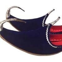 Indian Beak Shoes - Oriental Khussa In Blue-Silver