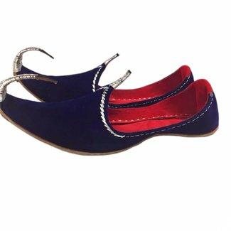 Indische Khussa Schuhe Blau-Silber
