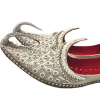Indian Beak Shoes - Oriental Khussa In Silver