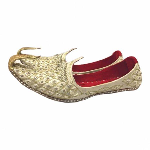 Indian Beak Shoes - Oriental Khussa In Cream