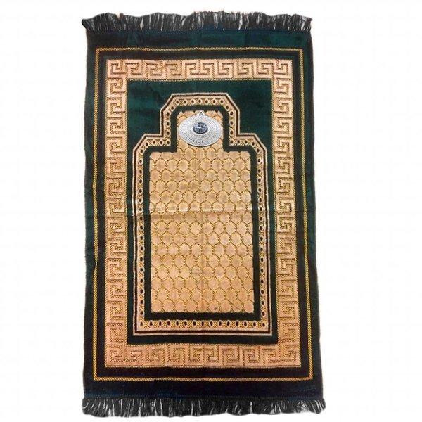 Gebetsteppich - Seccade in Dunkelgrün mit Kompass