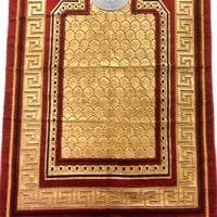 Gebetsteppich - Seccade in Dunkelrot mit Kompass