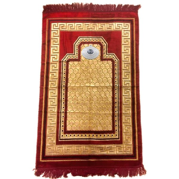Prayer rug - seccade in dark red with compass