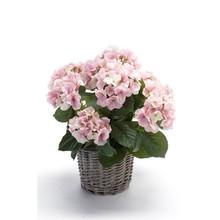 Hortensia paars in mand kunstplant