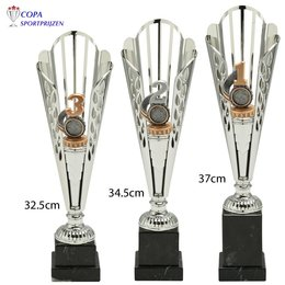 Zilveren trofee met nr. 1-2-3 figuur CS332B
