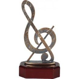 Muzieknoot metaal op houten voet