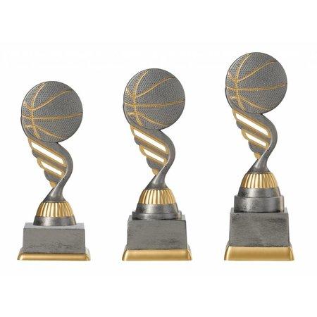 Basketbal trofee antiek grijs-goud