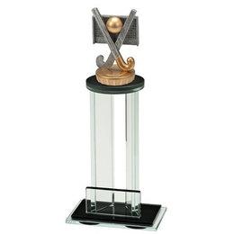 Glazen trofee met sportbeeldje Hockey