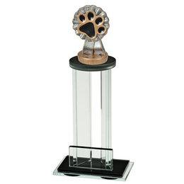 Glazen trofee met sportbeeldje Hondensport