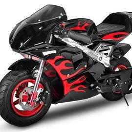 Sendai KXD Minibike 49cc zwart met rode vlammen