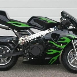 Sendai Minibike 2013 49cc zwart met groene vlammen