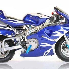 Sendai Minibike 2013 49cc blauw met witte vlammen