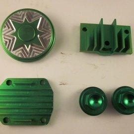 Sendai Cilinderkop tuning set CNC aluminium 50cc tot 140cc (groen)