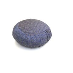 Meditatie Kussen Rond Geplooid - Blauw Brokaat