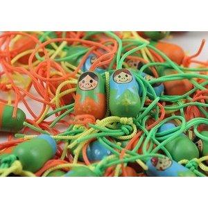 Gelukspoppetjes matroesjka in oranje en blauw - 1,5 cm