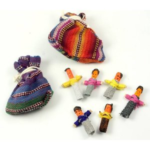 Zakje met 6 worry dolls uit Guatemala