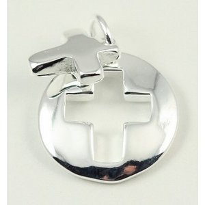 2 cm groot zilveren hangertje kruis