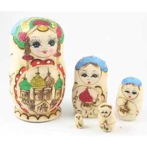 Matroesjka hout met glitters 5 poppen 10 cm hoog