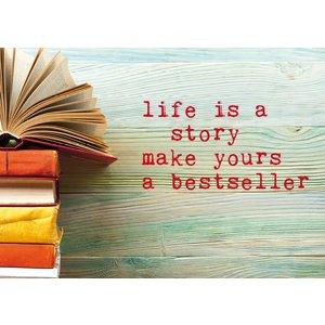 Kaart met boek - Life is a story