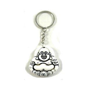 Sleutelhanger witte lachende boeddha