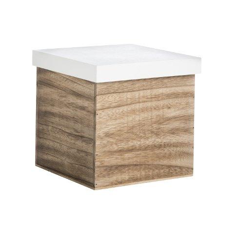 Aufbewahrungsbox Holz/Weiß L