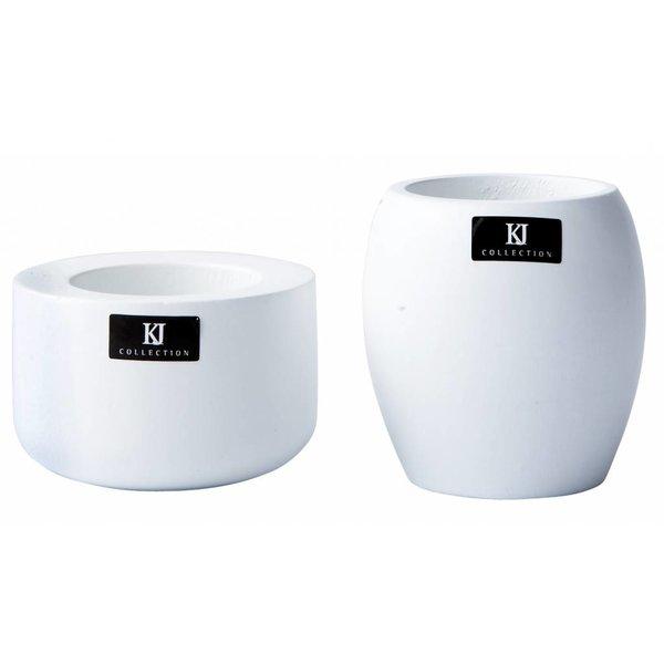 bovictus - KJ Collection Teelichthalter-Set Holz Weiß von bovictus