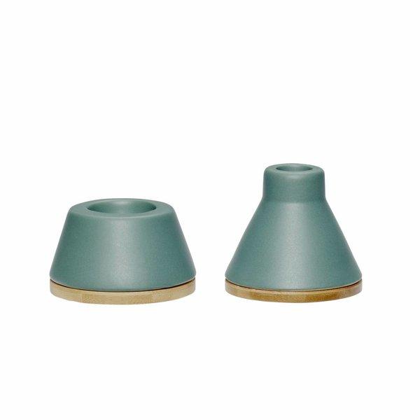 Hübsch Interior Kerzenhalter-Set Grün von Hübsch Interior