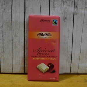 NATURATA Weiße Schokolade mit Stracciatella-Kirsche, 100 g