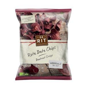 DE RIT ORGANICS Rote Beete Chips mit Meersalz, 75 g