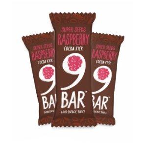 9BAR Barrita de semillas con cacao y frambuesa sin gluten, 40g