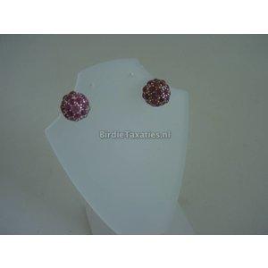 Vintage zilveren oorstekers met robijn