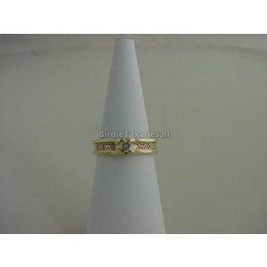 Gouden ring met binnenring bezet met briljanten