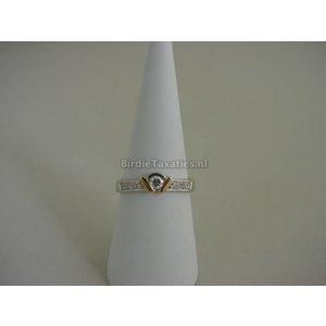 Witgouden ring bezet met briljanten, ca. 0.25ct