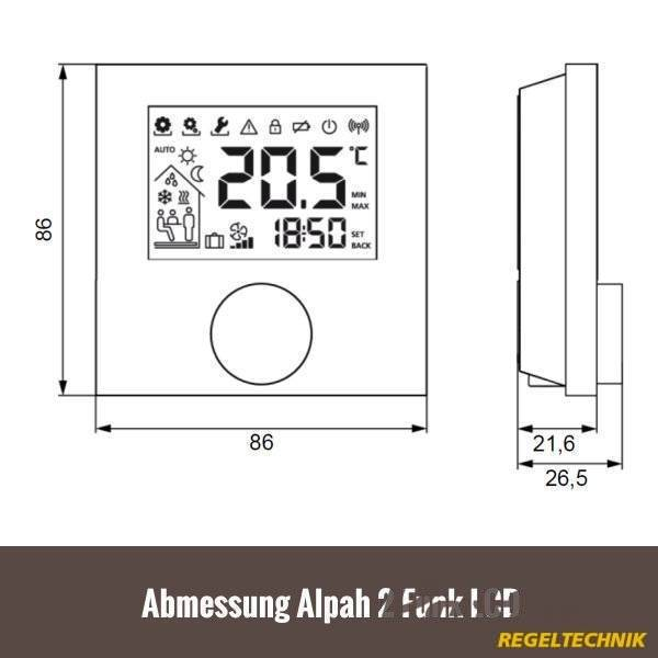 Möhlenhoff BUS Raumthermostat Alpha 2 LCD weiß - PEFRA-Elektrogroßhandel