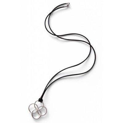 oolaboo Halskette - rhodiniert inkl. Seidenband und Verschluß