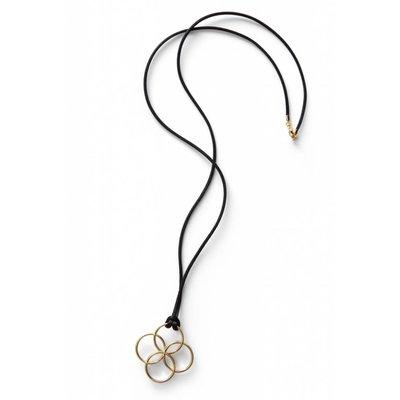 oolaboo Halskette vergoldet mit Seidenband und Verschluß
