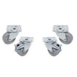 "Diamond Kit 4 ""galvanized"" castors, swiveling, 2 with brakes"