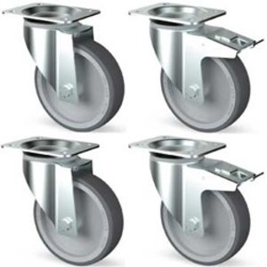 Diamond Kit of 4 stainless steel castors, swiveling, 2 with brakes