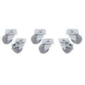 """Diamond Kit van 6 """"verzinkte"""" zwenkwielen voor tafels, 2 met rem"""