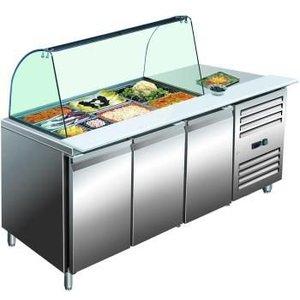 Saro Stół chłodniczy ze szklaną witryną  +2° do +8°C   3x GN 1/1 + 6x GN 1/9
