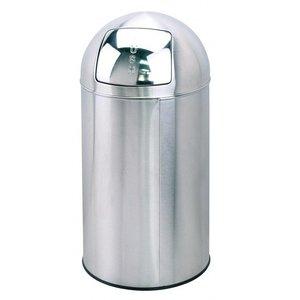 Saro Kosz na odpady z pokrywą typu PUSH - stal nierdzewna - wys. 76 cm