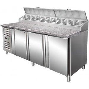 Saro Stół przygotowawczy wentylowany - 3 drzwiowy |+2° do +8°C | 11x GN 1/3