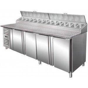 Saro Stół przygotowawczy wentylowany - 4 drzwiowy |+2° do +8°C | 14x GN 1/3