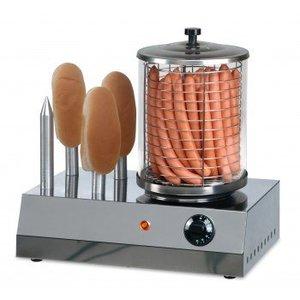 Saro hotdog warmer met broodwarmer, 4 verwarmstaven