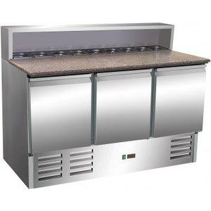 Saro Stół chłodniczy do pizzy - 3 drzwiowy | +2° do +8°C | 8 x GN 1/6