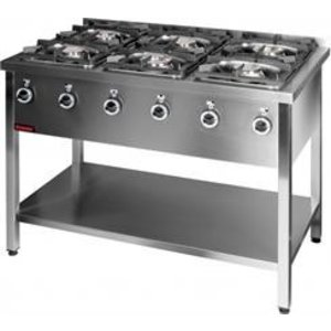 Kromet 6 BURNERS GAS KITCHEN | 2x4,5kW + 2x7,5kW + 2x9kW