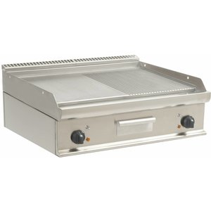 Saro Barbecues | Smooth 1/2 + 1/2 grooved | 790x530mm | 400V / 10.8 kW