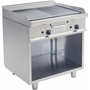 Saro Gas grill on the basis | Smooth 1/2 + 1/2 grooved | 790x530mm | 12 kW