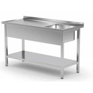 XXLselect Tisch mit Spülbecken und Fach - Kammer rechts | B:800-1900mm | T:600mm