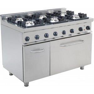 Saro Kuchnia gazowa 6 palnikowa z piekarnikiem gaz. 120 L (GN 2/1) | 43900W